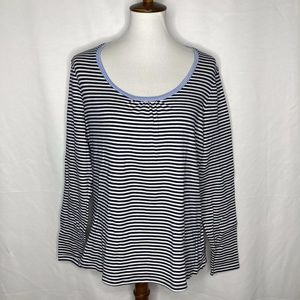 Boden Womens Size 16 Navy Blue White Striped Shirt
